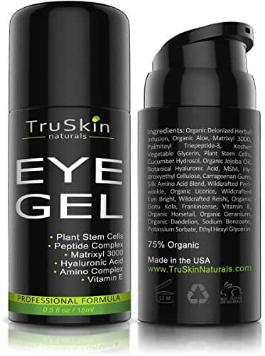 Eye Gel for Wrinkles, Fine Lines, Dark Circles, Puffiness & Bags - 100% Natural, 75% ORGANIC, With Hyaluronic Acid, Jojoba Oil, MSM, Peptides & More - Refreshing Eye Cream Alternative